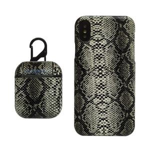 Modelo de la piel de serpiente del teléfono celular de la caja y la caja protectora de la caja protectora Airpods inalámbrico para Bluetooth para auriculares con gancho para iPhone XS 8