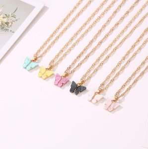DHL gold plated butterfly charm necklace pendant small acrylic blue pink butterfly necklace jewelry Gift for Her 51cm