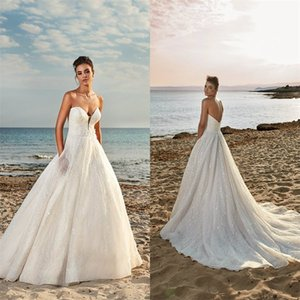 Glitter A-line Wedding Dresses Sleeveless Sexy Strapless Backless Appliqued Lace Sequins Bridal Gowns Sweep Train Robes De Mariée Cheap