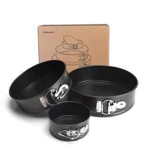 Черный Springform Пан набор Nonstick непротекаемый 3шт 4 7 9inch кекса выпекание Гибкая пряжка круглый Чизкейк Пан HBGJ01