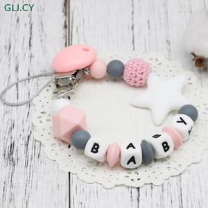2019 Diy Silicona Baby Pacifier Clip Nombre personalizado Cadena de chupete colorido para dentición del bebé Chupete Chupetes de juguete Clips simulados