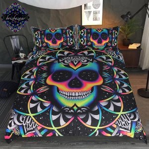 Chaos By Brizbazaar Bedding Set Queen Colorful Skull Duvet Cover Galaxy Mandala Gothic Bed Set 3-Piece Universe Cool Bedclothes CJ191203