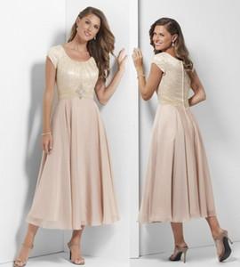 Şampanya Dantel Çay Uzunluk Kollu Şifon Anne Casual Wedding Parti Elbise Nedimeler törenlerinde ile Uzun Modest Gelinlik Modelleri