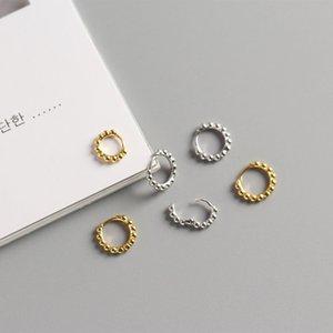 WTLTC 925 Sliver perles Boucles d'oreilles pour les femmes petites oreilles minuscules Huggies Boucles d'oreilles 10mm 12mm Boule Cercle Hoops Eariings
