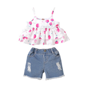 Mikrdoo Kids Baby Girl Summer Fashion Cute Strawberry Print Strap Top + Ripped Hole Denim Pants 2PCS Outfit