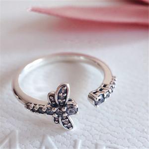 2020 Nouveau 100% 925 Pandora en argent sterling de style européen Sparkling Dragonfly ouvert CZ Anneau pour les femmes