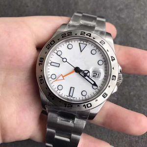 lüks erkek Watch 40MM Beyaz Dial Explorer II Ref.216570GMT Biçimi 316L Paslanmaz Çelik Yüksek Kalite Otomatik Mekanik Watcher Explorer