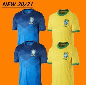 NEW 20 21 Brazil Home away G.Jesus Soccer Jersey 2020 2021 Brazil Yellow blue P.COUTINHO MARCELO Football shirt Uniforms custom made