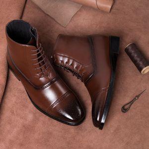 Forma de vestir Europea de Europa y América del estilo de la cremallera lateral para hombre de tres articulaciones Rub color de bota zapatos Bullock alta de la cintura para hombre Botas Martin