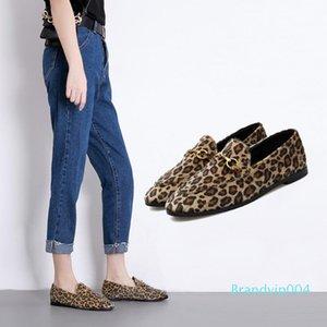 Pretty2019 Tek Roma Ayakkabı Kadın Metal Toka Leopard dawdler Düz Ayakkabı 8618-19 Baskı