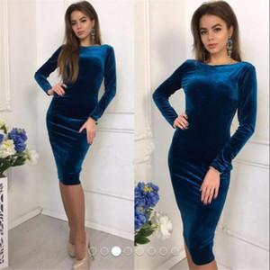 vinho Mulheres Sexy Clube Cut Bodycon Midi Vestido Red Velvet Bainha 2019 Casual Outono-Inverno Sólidos Moda vestidos de preto azul