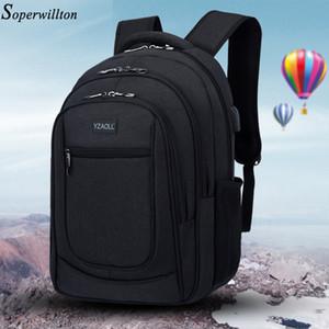Sac à dos étanche Hommes Soperwillton solide pour ordinateur portable multifonctionnel Homme Sac à dos Adolescent Bookbag Oxford USB de charge Sacs de voyage