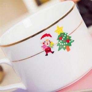 Árvore etiquetas dos desenhos animados do floco de neve adesivos Natal Papai Noel do Natal DIY Posters PVC da etiqueta para presentes favor de partido Glass Windows A110802