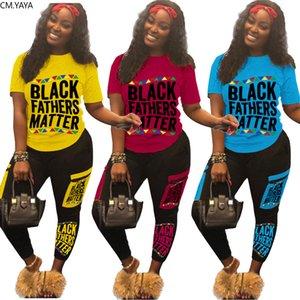 Women Sets Black Fathers Matter Print Tracksuits Sportswear Tee Tops Jogger Sweatpants Suit Two Piece Set 2Pcs Outfits