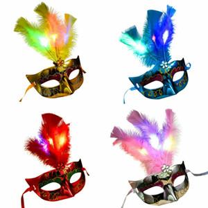 Femmes mascarade vénitienne Masque LED Plume Masque lumineux Bachelorette Party Déguisements Masques de carnaval