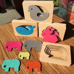Candywood crianças brinquedos de madeira para Puzzle Crianças animal Carton 3D Multilayer quebra-cabeças Brinquedos Bebê da Primeira Infância Educação Aids Y200704