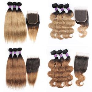 1b27 1b30 Paquetes de pelo de onda corporal recta con cierre 200 g por conjunto Miel Rubio Medio Auburn Human Extension