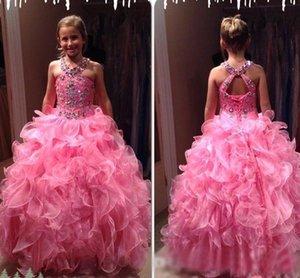 Neue Luxus-Rosa-wulstige Mädchen-Festzug-Kleider Organza Neckholder Cascading Rüschen Korsett Christmas Party-Kleider für Kinder Formal Wear
