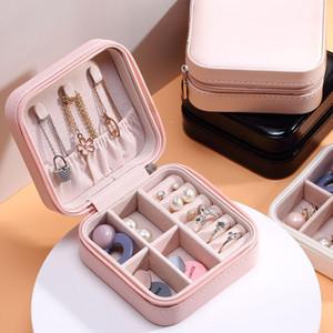 Lady viagem Jewelry Box Zipper Encerramento PU couro pequena jóia Organizador portátil Display Case Armazenamento de anéis brincos colares M901F