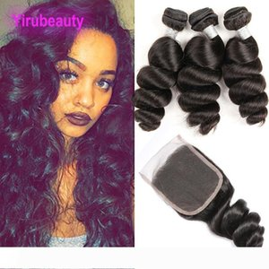 A Peruvian Human Hair Natural Color 95-100g piece 3 Bundles With 4X4 Lace Closure Loose Wave Peruvian Hair Wefts With Closure