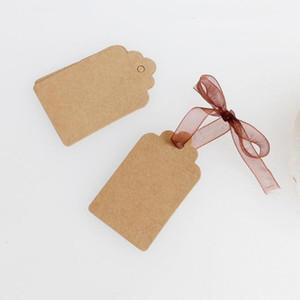 100 adet Noel kolye DIY Kraft Kağıt Etiketler Baş Etiket Bagaj Düğün Dekorasyon Blank Fiyat Etiketi Kraft Hediye Karton Etiket