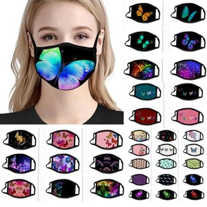 Mode Motif papillon Impression 3D Designer Masque Masques glace soie Réutilisable visage Masques Out Door Sport équitation Designer Masque WX20-5