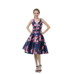 Real Images 2019 Sexy Printed Flower Prom Dresses Evening Gowns Cheap Knee Length Prom Dresses Bridesmaid Dresses Formal Party Dress B038