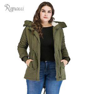 Romacci 2019 Winter Jacket Women Korean Fleece Parka K- Warm Coat Overcoat Classical Hooded Jacket Green Manteau Femme Hiver