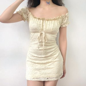 Summer dress 2020 vintage boho casual lace dress elegant mini sexy club bow tie tunic off shoulder ruffle vestidos