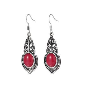 3 Çiftler / Lot Moda Klasik Vintage Yangın Red Jasper Taş Küpe 925 Gümüş Düğün Dangle Hook Küpe Kadın