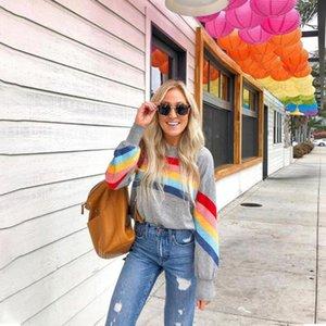 Vendita PickyourLook moda arcobaleno maglioni di base casuale regolare 2020 Female manica lunga Pullover patchwork formato S-XL D30