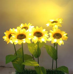 Colores amarillos Lámpara de espiga de trigo Cabeza única Luces giratorias en forma de girasol Linterna de tierra para jardín DÉCor Nueva llegada 9jya E1