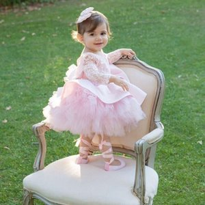 2020 Belle Dollcake rose Backless robes fille fleur manches longues Occasion spéciale Robes enfants Pageant Longueur genou dentelle Communion Robe
