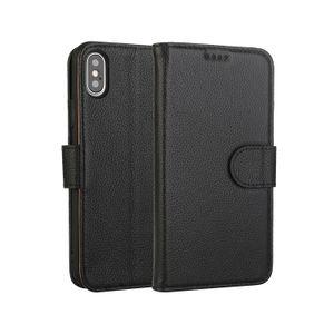 iPhone XS 용 킥 스탠드 및 카드 슬롯이있는 정품 가죽 지갑 케이스 플립 커버 디자인 MAX XS X XR 8 7 6s 6