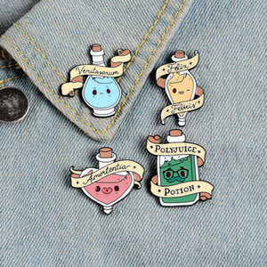 Magic potion enamel pins Cartoon bottle badges Good luck love transformation truth brooches Lapel clothes pin Movie jewelry gift for kid