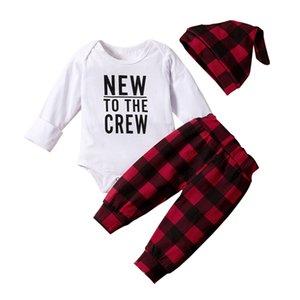 Newborn Baby Clothes Letter Print Romper Lattice Long Pants Hat 3 PCS Outfits Set