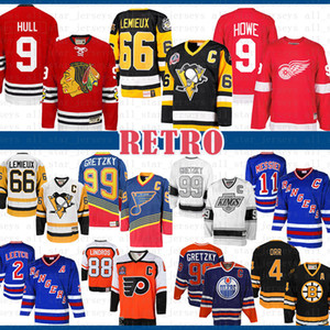 CCM mens barato 9 casco de Bobby Chicago Blackhawks Gordie Howe Detroit Red Wings jerseys Mario Lemieux 66 Pingüinos de Pittsburgh Hockey Jersey