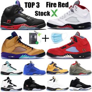 Yeni Jumpman 5 5s yetiştirilen tasarımcı spor ayakkabıları eğitmenler saten 3 Ateş Kırmızı Michigan Erkek Basketbol Ayakkabı siyah üzüm taze prens siyah muslin top