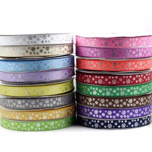 "7 8""22mm Christmas Silver Foil Snowflake Patterns Printed Grosgrain Ribbon Hair Accessories DIY Handmade Hair Band 100yards roll"