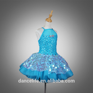 DL018 filles robe tutu ballet bleu élégant costumes de ballet de performance scénique jupe tutu dansent porter performance wholesale dancewear