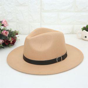 delle donne cappello di lana fedoras jazz per le donne grande cowboy all'orlo lana Crushable delle donne in feltro Outback Cappello Panama tesa larga con cintura