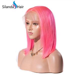 Большие скидки Розовый Короткие парики Боб Straight Remy человеческих волос фронта шнурка полные парики шнурка Бесплатная доставка