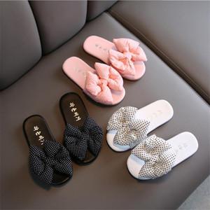 2020 fashion new summer children cartoon flip flops beach shoes little girl bow slippers sandals beaded pearl slippers beach