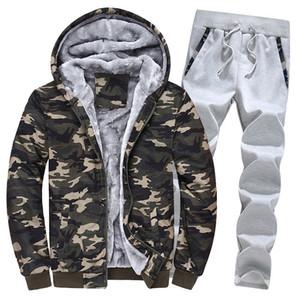 2019 Männer Warm Sets Fleece Mode Sportanzug Männer Patchwork Zipper T-Shirt + Jogginghose Herren 2 Stück Set Schlank