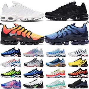 2020 TN Artı Erkek Koşu Ayakkabı Üçlü Siyah Beyaz Hiper Mavi Gerilim Mor Gökkuşağı FLY ÖRGÜ Erkekler Kadınlar Run Yardımcı Spor Spor ayakkabılar Eğitmenler