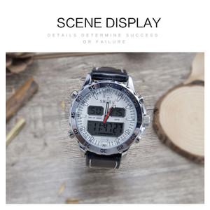2020 Smael Montres Sport Waterproof Véritable double affichage Quartz WristwatchesCool Homme Horloge mode numérique intelligent LED Watch Men 1281