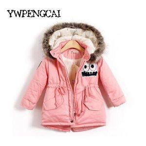 Herbst-Winter-Kind-Mädchen-warme starke Jacken mit Pelzmütze Kinder Parka 90% Baumwolle Füllung Mädchen im Freien Mantel 2-8 Jahre Y191026