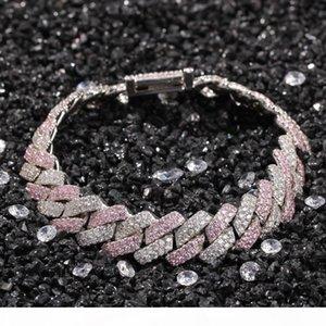 Cuban Link Chain Bracelet Luxury Designer Jewelry Men Women Bracelets Iced Out Diamond Tennis Love Bangle Hip Hop Charm Pink Fashion Friend