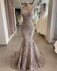 2019 Lace frisada Sexy Africano Dubai Vestidos profundo decote em V Mermaid Backless Prom Party Formal Vestidos Vintage da dama de honra Pageant Vestidos