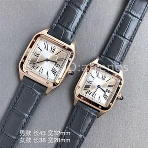 Yeni Üst Kalite Moda Kuvars İzle Erkekler Kadınlar Altın Dial Gri Deri Kayış Casual Saat 1732 Safir Cam Klasik saatler Bayan